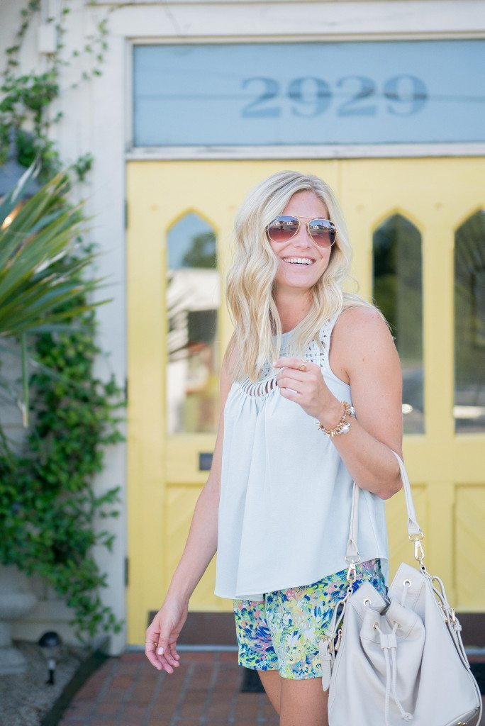 light blue tank top nordstrom-classic aviator sunglasses-andb floral shorts-top fashion blogger dallas
