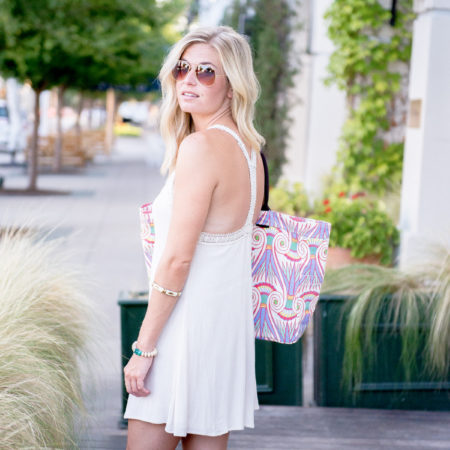 lightweight beach mini dress-embroidered trim y back-printed beach tote