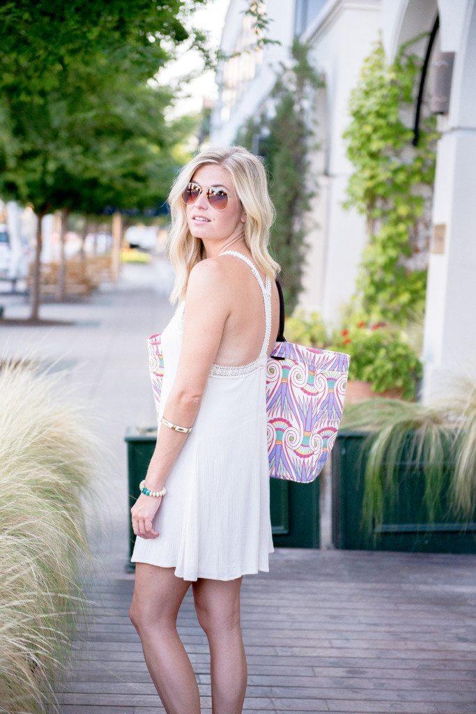 lightweight beach mini dress-embroidered trim y back-printed beach tote