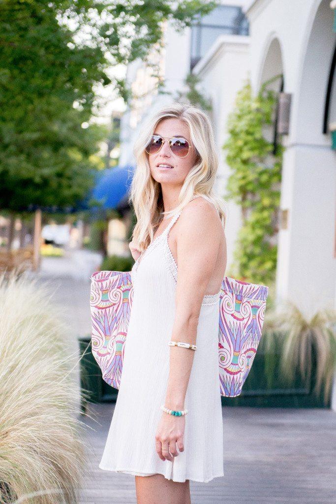 boho lace trim dress-printed beach bag-