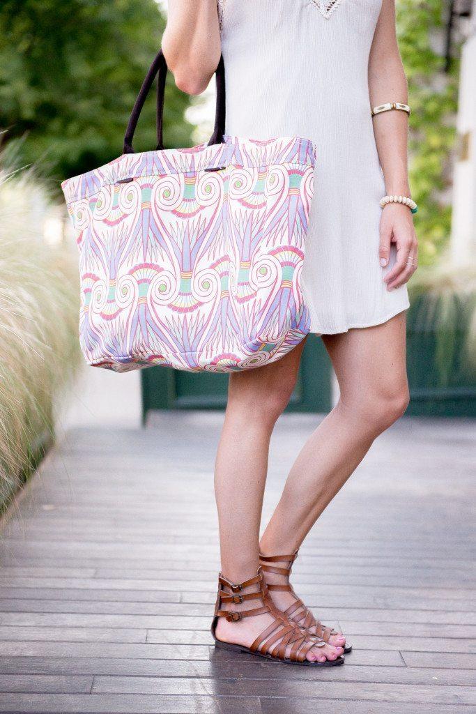 lulu dharma tote-tribal print beach bag