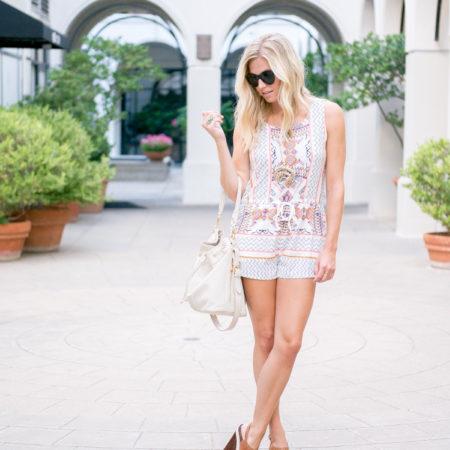 tribal print romper-summer romper-sheinside-fashion blogger dallas tx