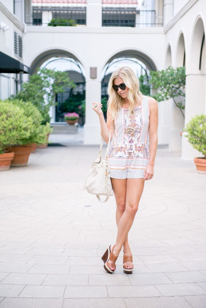 tribal print romper-summer romper-sheinside-fashion blogger dallas tx