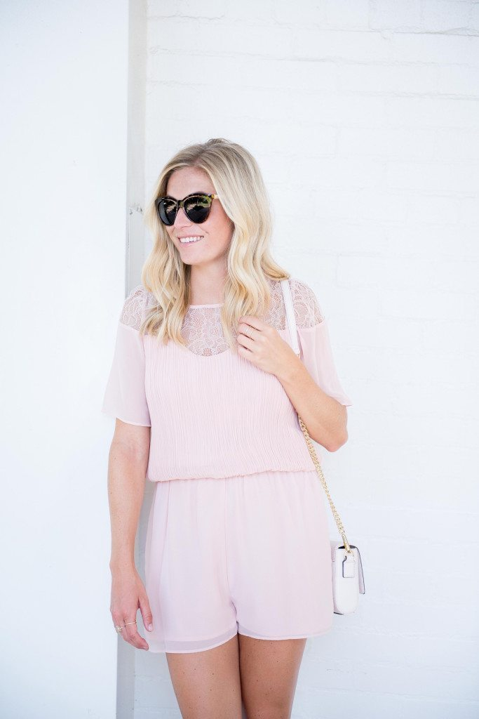 lace bell sleeve romper-rebecca minkoff crossbody-fashion blogger dallas