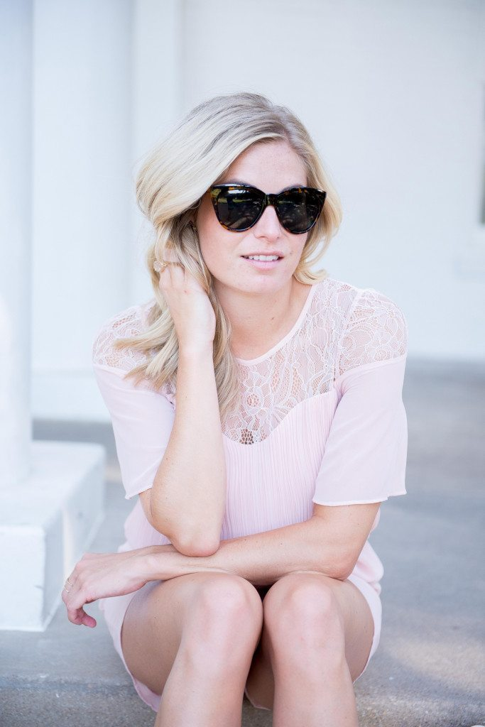 blush lace sleeve romper-bcbgeneration-tortoise sunglasses