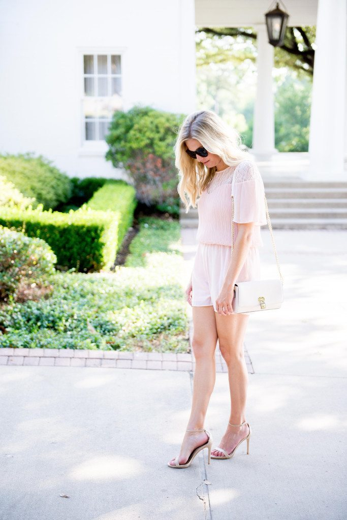 blush short sleeve romper-wedding outfit-summer wedding outfit idea