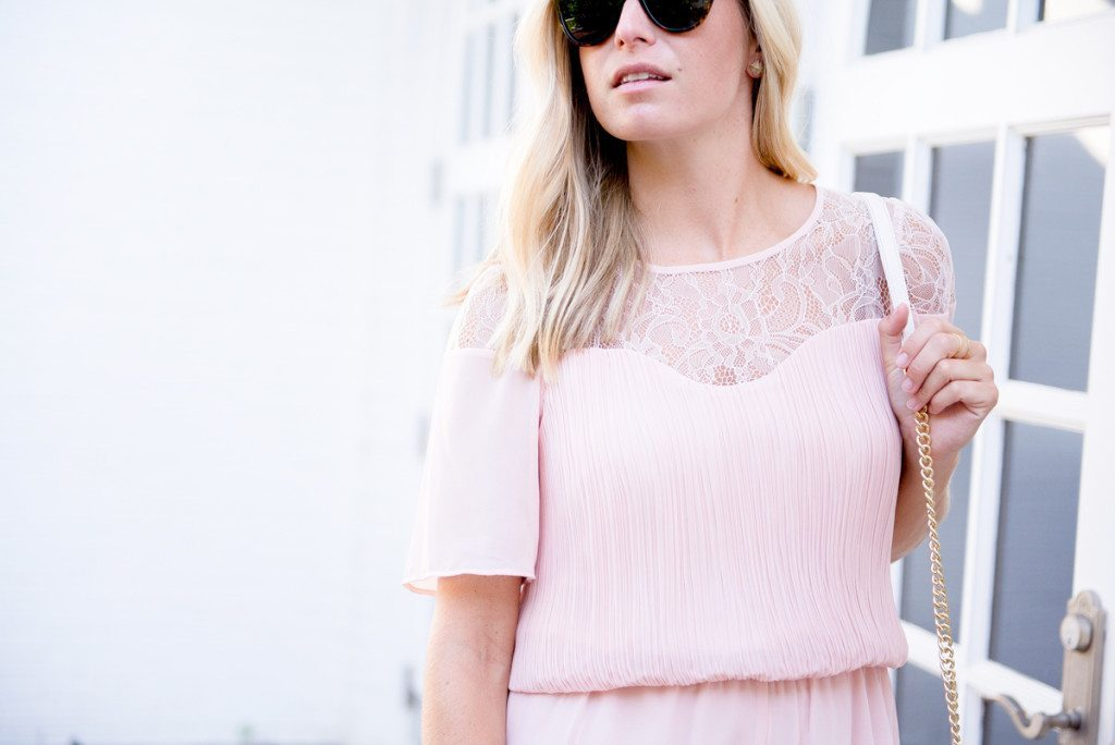 blush romper with lace sleeves-what to wear to a summer wedding-fashion blogger dallas