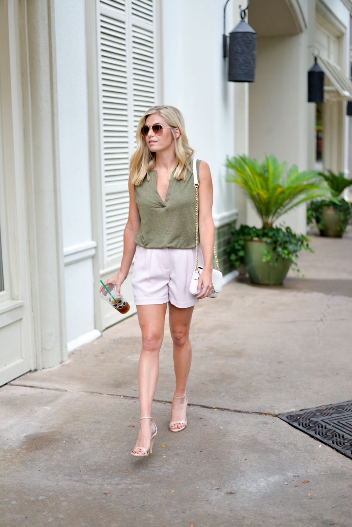 light pink shorts-olive deep v tank-tan ankle strap sandals-rebecca minkoff crossbody-dallas fashion blogger