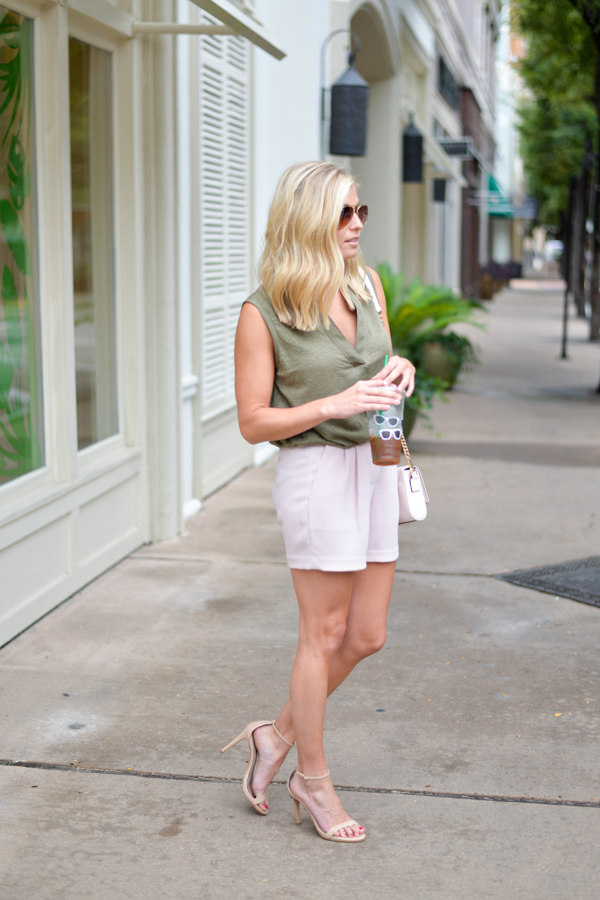 olive linen tank-light pink shorts-nude patent ankle strap sandals-fashion blogger dallas