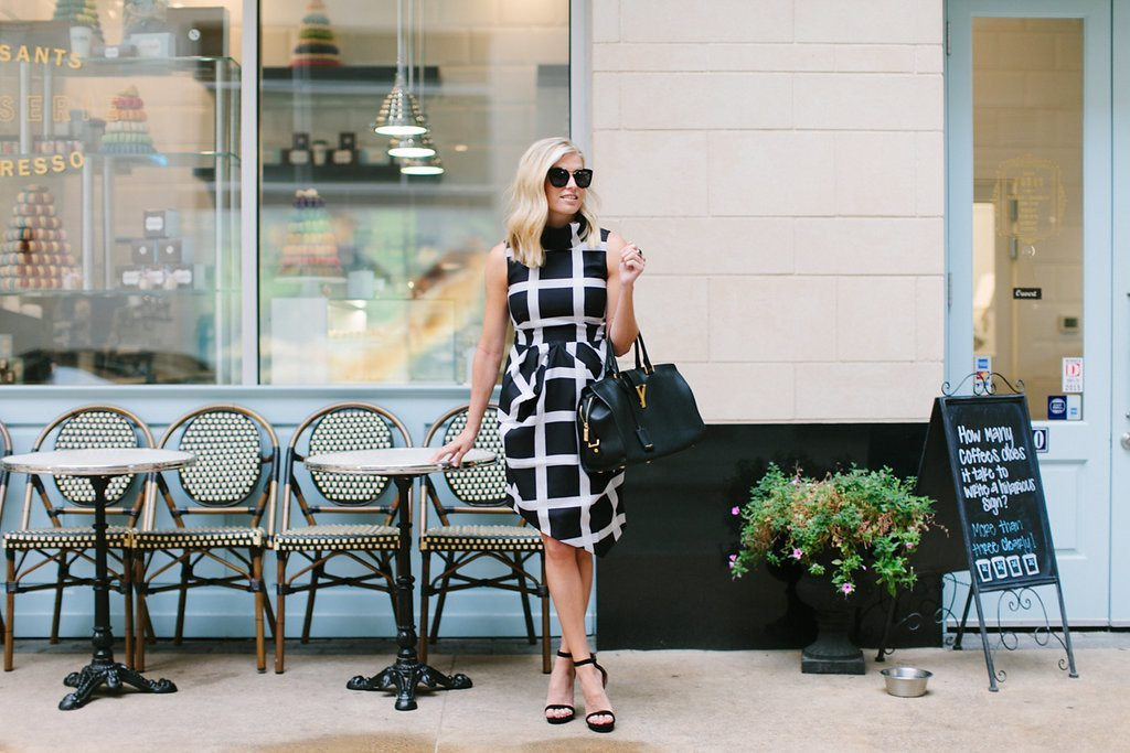 windowpane print dress-black and white dress-dallas fashion blogger