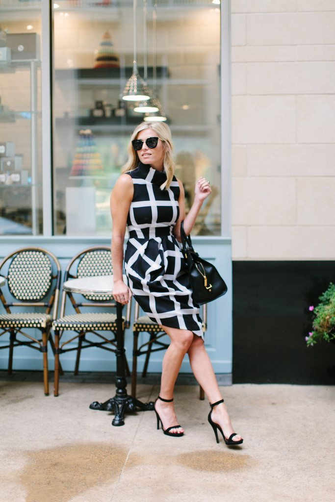 black and white check print dress-finders keepers dress-YSL purse