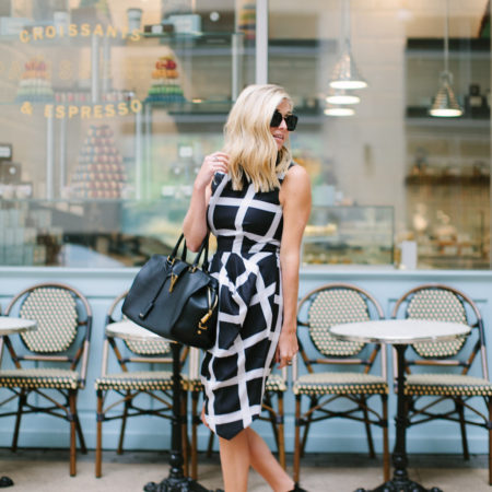 black and white windowpane dress-bisou bisou bakery dallas-black ankle strap sandals-dallas fashion blogger