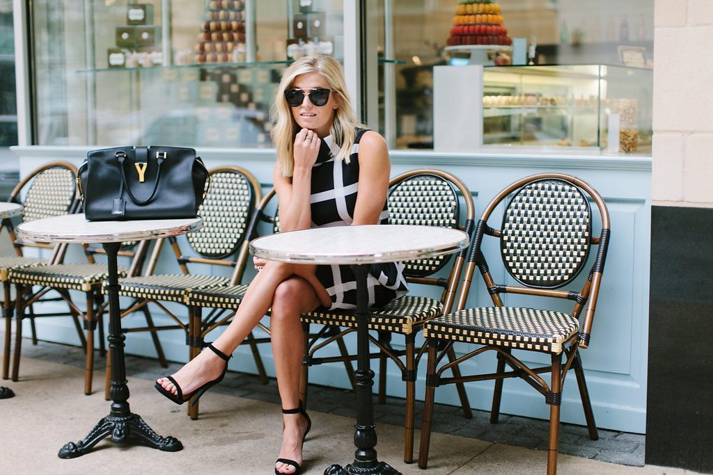windowpane print dress nordstrom-black ankle strap sandals-black and white dress