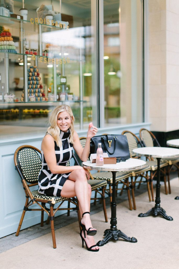 black and white cowl neck dress-bisou bisou bakery dallas-black ankle strap sandals