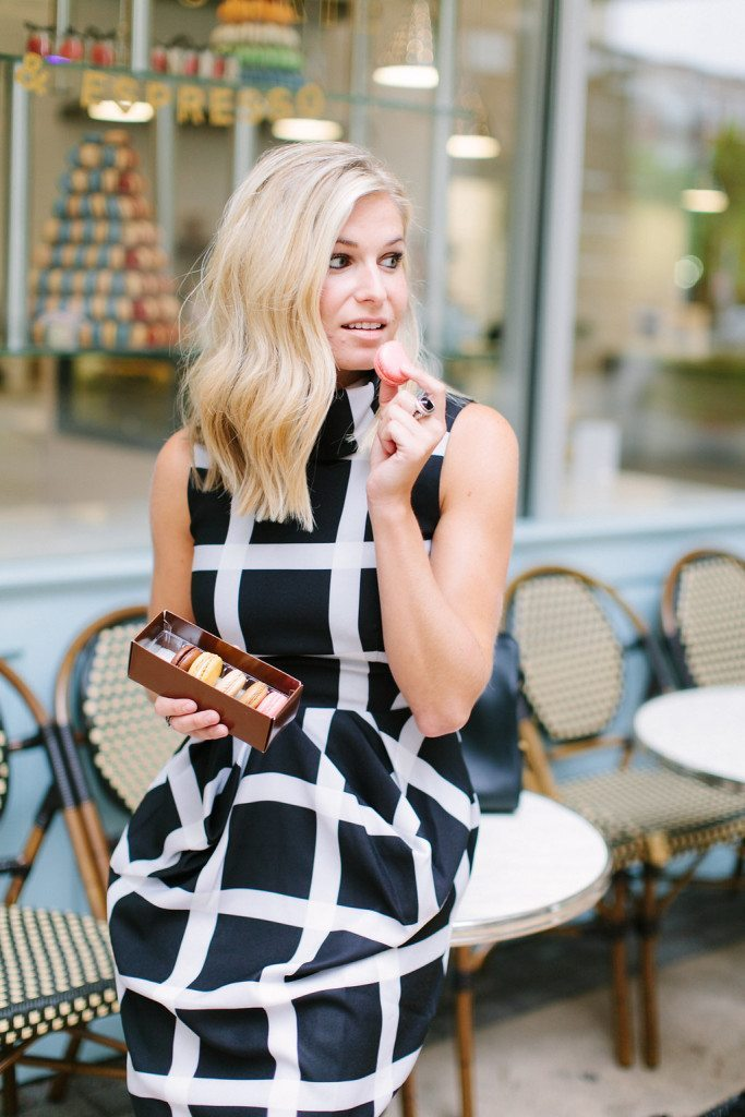 black and white windowpane dress-highneck black dress-bisou bisou dallas