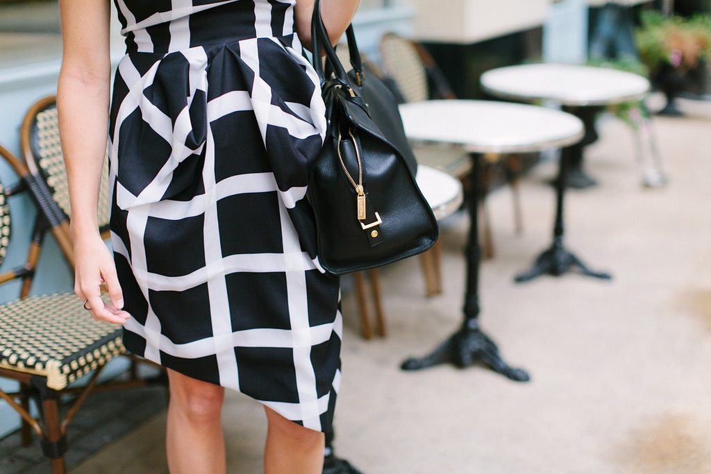 black and white check print dress-asymetrical hem dress-YSL handbag