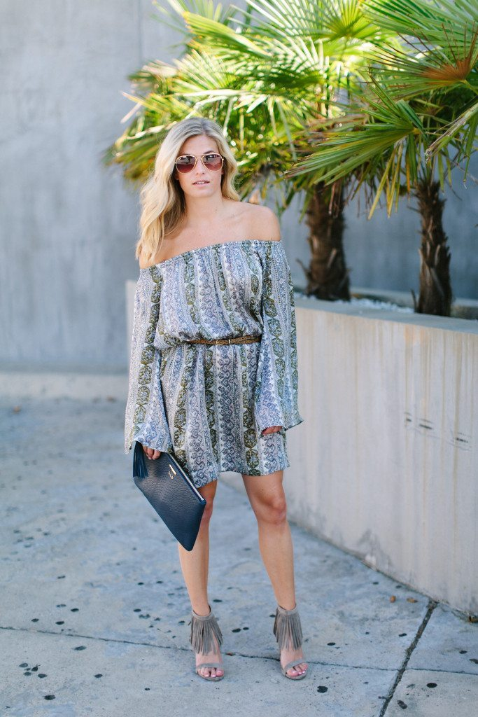 calypso st barth dress-printed silk dress-gigi new york clutch-fringe heels