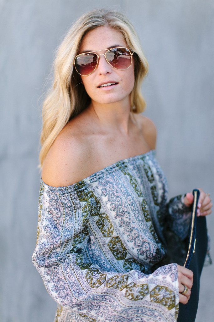 off the shoulder dress-bohemian print dress-long sleeve dress