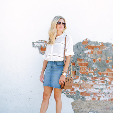 denim skirt-white blouse-Tory Burch tan crossbody-dallas fashion blogger