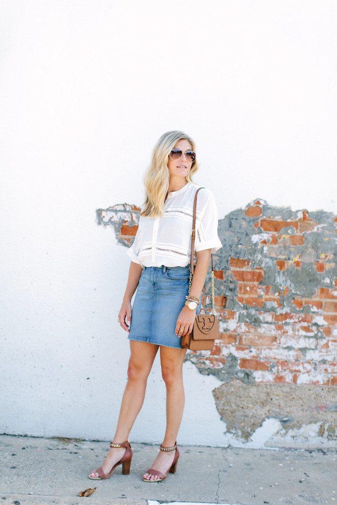 denim skirt-white blouse-Tory Burch tan crossbody-dallas fashion blogger