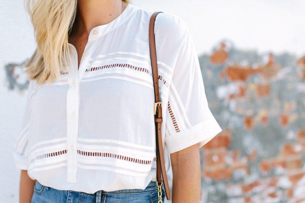 ladder lace trim white blouse-