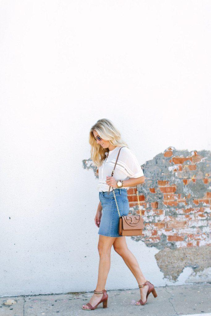 denim pencil skirt-white slouchy blouse-summer crossbody purse