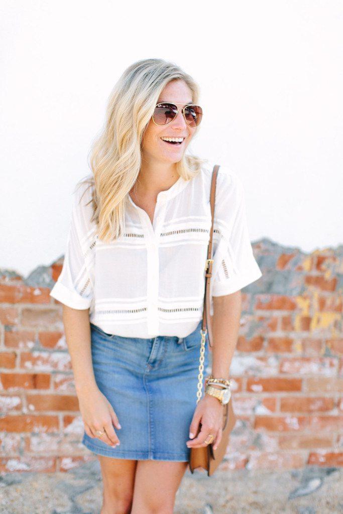 white dolman sleeve blouse-jean skirt-classic aviators