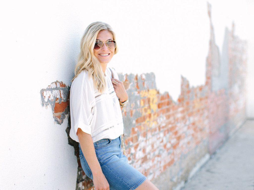 lace trim slouchy blouse-denim skirt-fashion blogger dallas