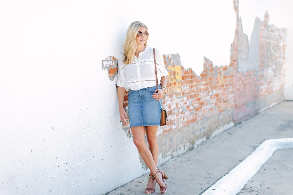 summer denim skirt trend-slouchy white blouse-ankle strap wedge heel sandal