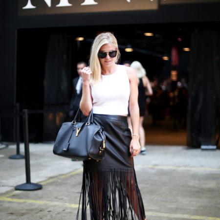 faux leather fringe skirt-nyfw-cropped sleeveless sweater-pom pom heels-dallas fashion blogger