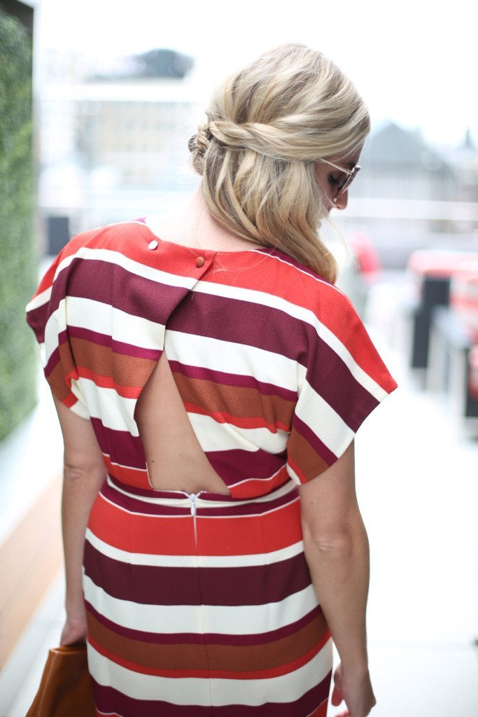 open back stripe dress-asos stripe pencil dress-fall dresses-fall wedding outfit-kate spade sunglasses