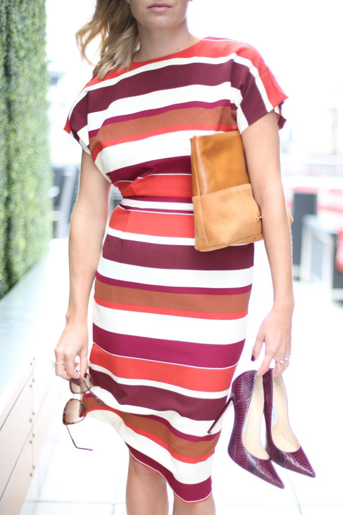 red strip dress-camel suede clutch-burgundy snakeskin heels