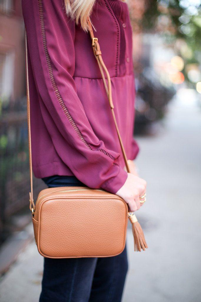 gigi new york madison crossbody-camel crossbody with fringe-burgundy long sleeve blouse-dallas fashion blogger