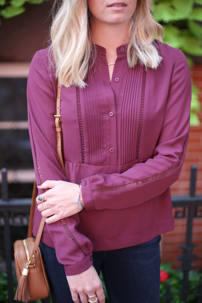 burgundy button front blouse-gigi new york crossbody-kendra scott color bar ring-burgundy color trend 2015