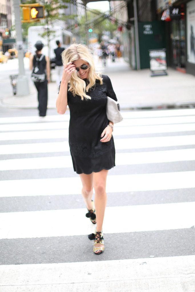 black suede dress-zebra pom pom shoes-nyfw street style-dallas fashion blogger