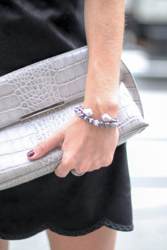 kendra scott silver bracelet-spike silver bracelet-gray croc clutch
