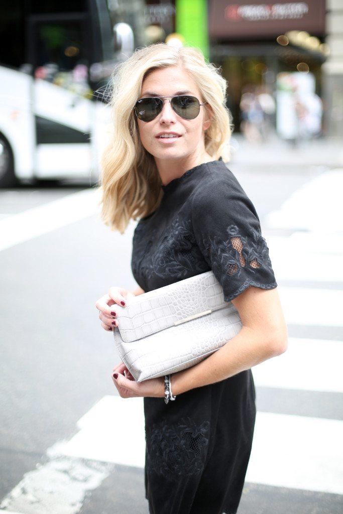 zara suede dress-black embroidered suede dress-grey crocodile clutch-nyfw street style-dallas fashion blogger