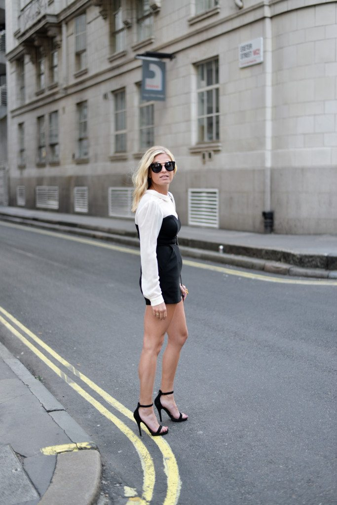 long sleeve black and white romper-bcbgeneration-ankle strap black sandals-london fashion