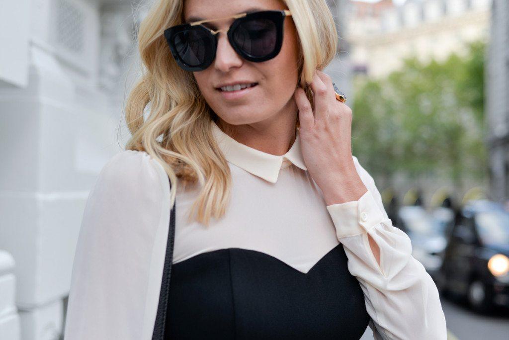 collar oxford romper-oversized black sunglasses-dallas fashion blogger
