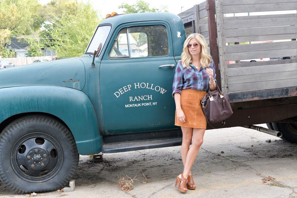 suede skirt fall outfit ideas-blue plaid shirt with suede mini skirt-burgundy purse for fall-fashion blogger dallas