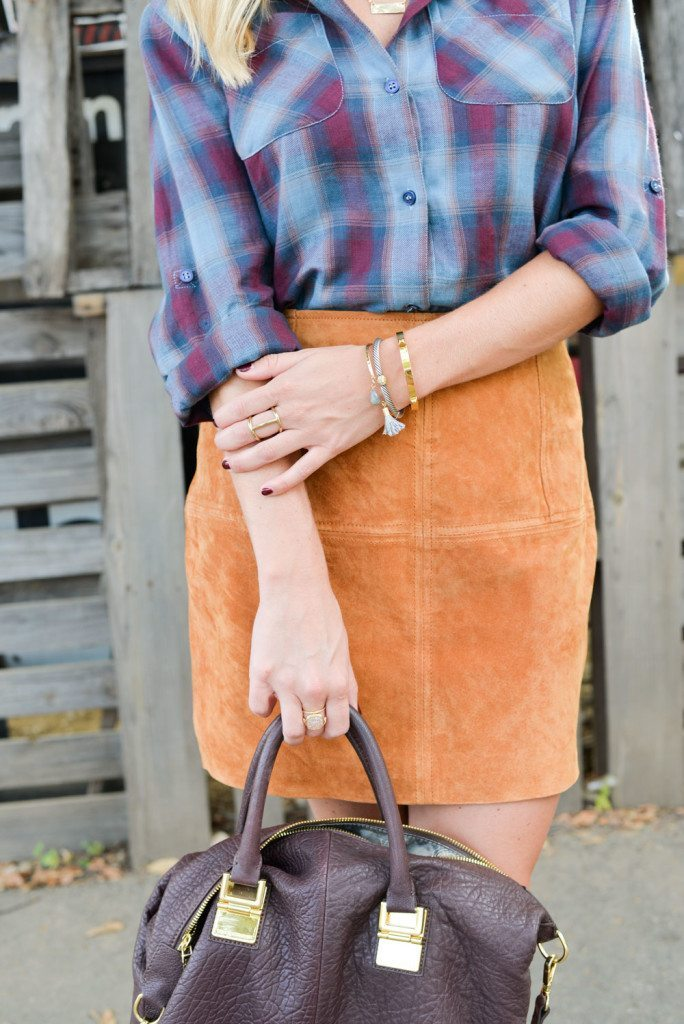fall outfit with suede skirt-suede mini skirt-blue plaid skirt-burgundy satchel-gold bracelets