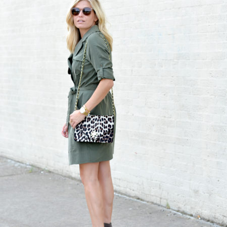 olive trench shirtdress-leopard crossbody purse-fall outfit trends-tan suede booties-dallas fashion blogger