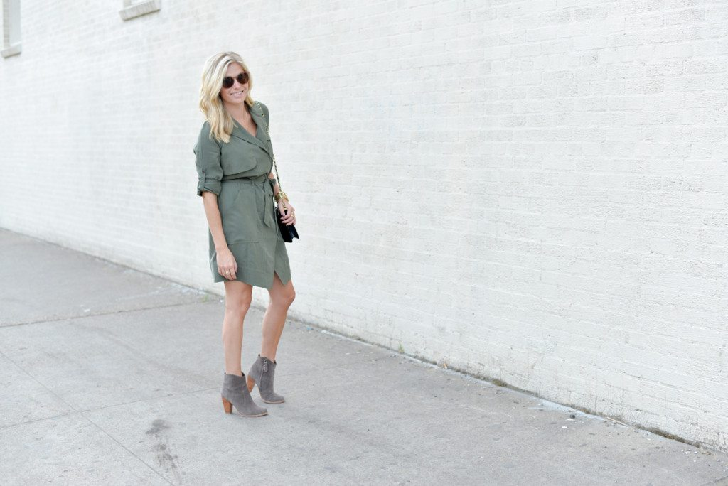 banana republic olive shirtdress-trench dress-suede ankle booties-fashion blogger dallas