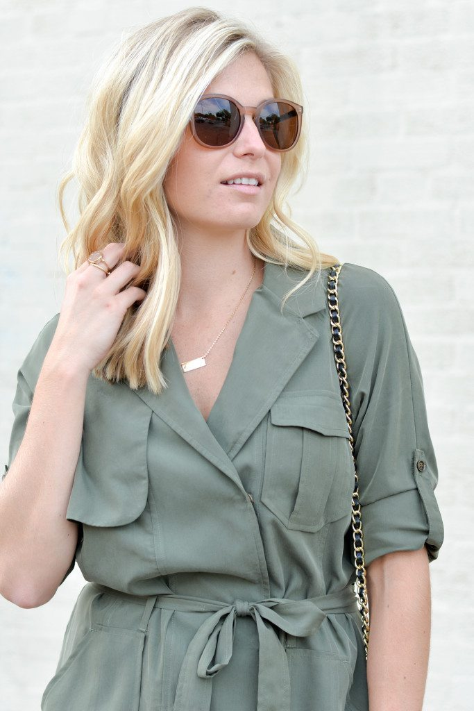 olive shirtdress with pockets-gold bar necklace-round frame sunglasses