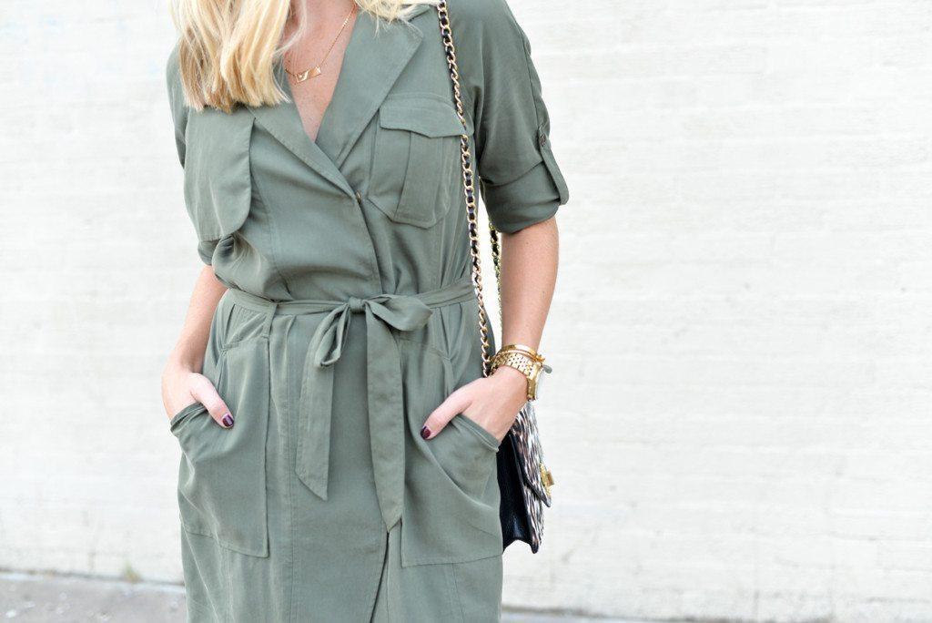 olive green trench inspired dress-banana republic trench dress-leopard chain crossbody