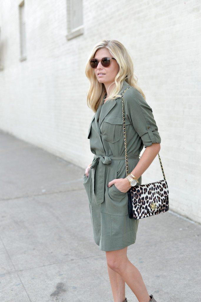 olive shirtdress-leopard crossbody purse-trench dress banana republic-dallas fashion blogger