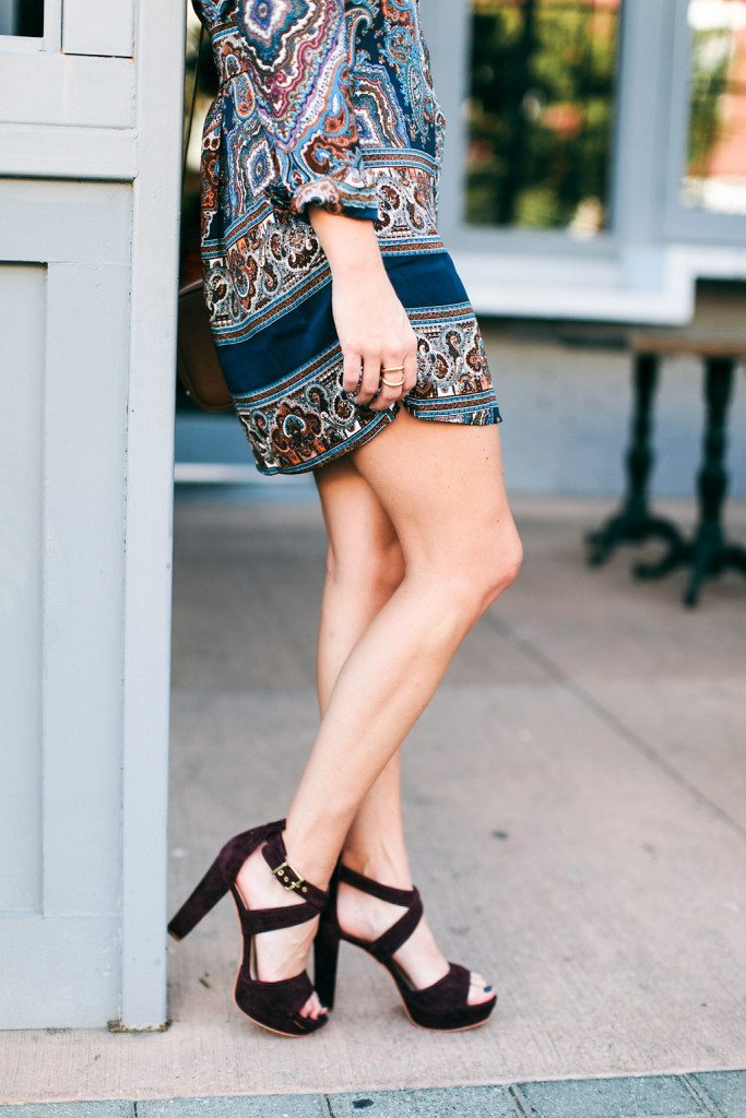 burgundy suede sandals-paisley dress for fall-burgundy color trend