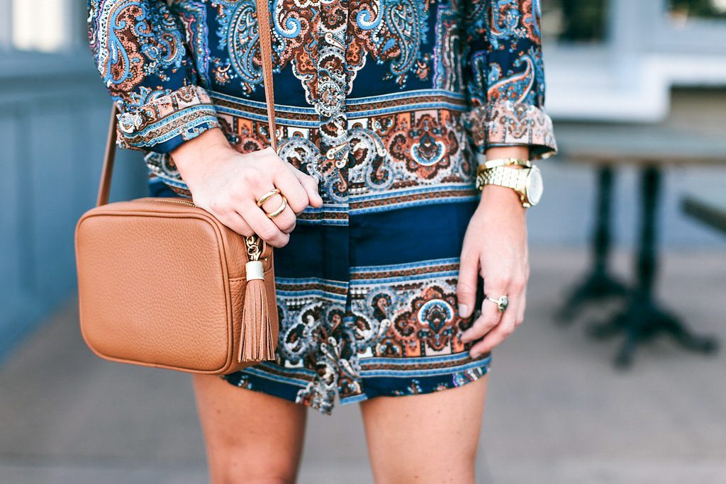 paisley shirtdress and tan tassel crossbody purse-fall outfits-fall accessories
