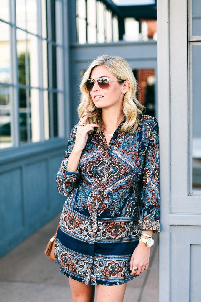 dallas fashion bloggers-paisley shirtdress-fall style trends