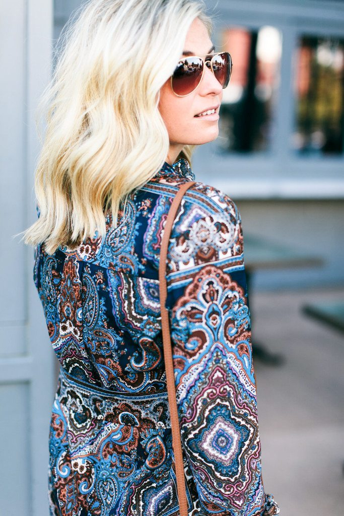 blue paisley shirtdress